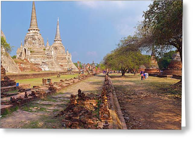 The Tiger Greeting Cards - Ancient Ruins Of A Temple, Wat Phra Si Greeting Card by Panoramic Images