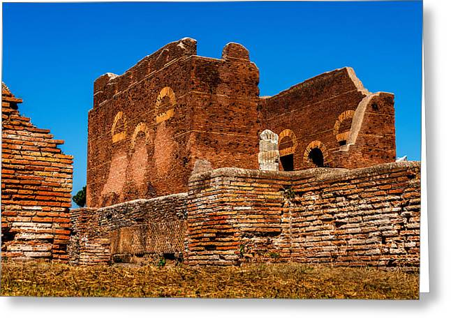 Ancient Ruins Greeting Cards - Ancient Ruins Ostia Anica Rome Italy Greeting Card by Xavier Cardell