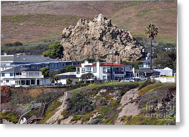 Green Ocean With White Water Greeting Cards - Ancient Sea Stack at Pismo Beach Above Motels Greeting Card by Susan Wiedmann