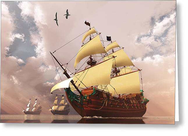 Sailboat Images Greeting Cards - Ancient Ships Greeting Card by Corey Ford