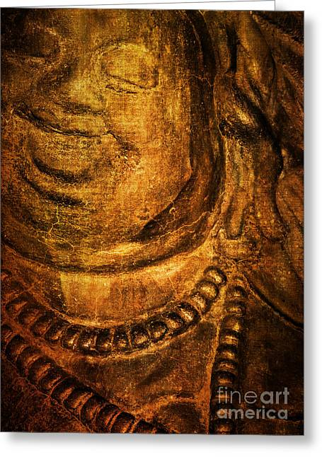 Tibetan Buddhism Greeting Cards - Ancient Smiling Buddha Greeting Card by Roselynne Broussard