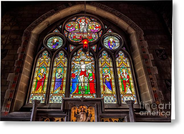 Altars Greeting Cards - Ancient Stained Glass Greeting Card by Adrian Evans