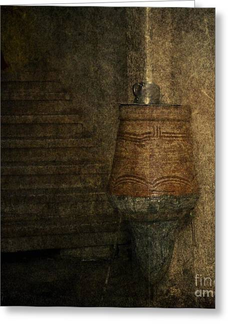 Wooden Stairs Greeting Cards - Ancient stairs with old water jar system Greeting Card by Safaa Samy