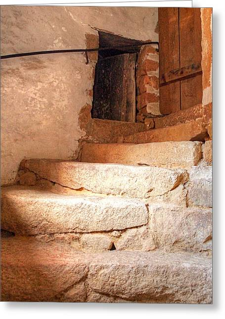 Stone Steps Photographs Greeting Cards - Ancient Steps To The Attic Greeting Card by Gill Billington