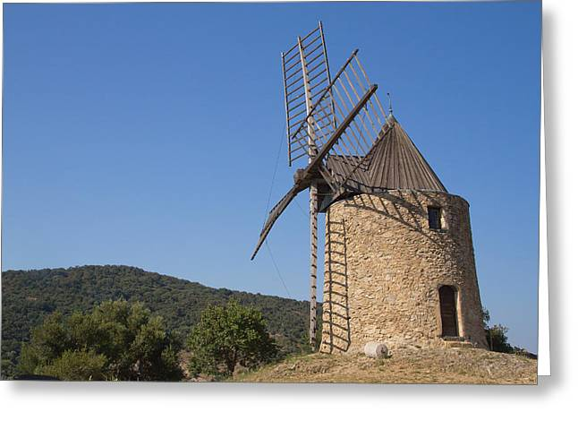 Grimaud Greeting Cards - Ancient stone windmill Greeting Card by Jaroslav Frank
