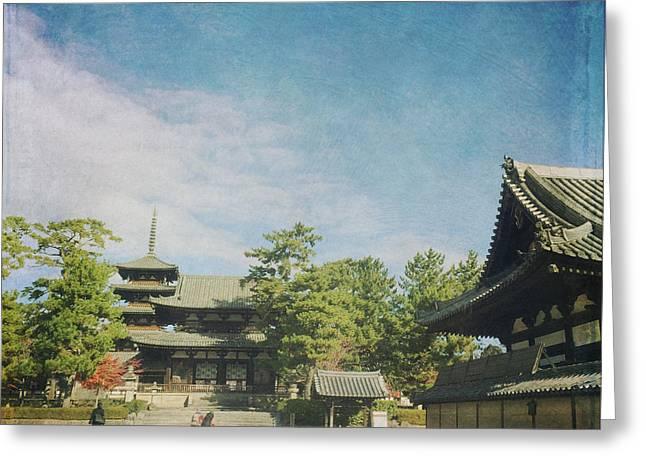 Ancient Temple And Pagoda Of Horyu-ji In Nara Japan Greeting Card by Beverly Claire Kaiya