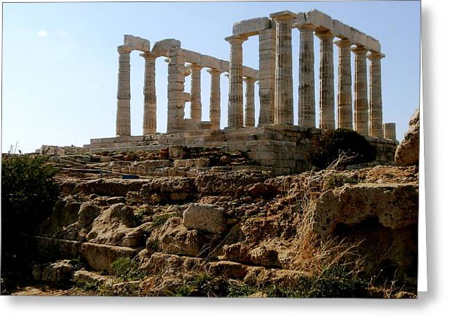 Ancient Temple Greeting Card by Constantinos Charalampopoulos