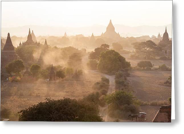 Bagan Greeting Cards - Ancient Temples At Sunset, Bagan Greeting Card by Panoramic Images
