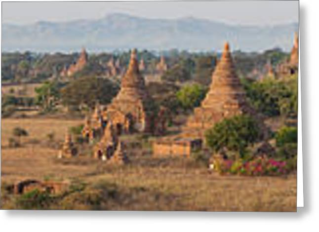 Mandalay Greeting Cards - Ancient Temples In Bagan, Mandalay Greeting Card by Panoramic Images