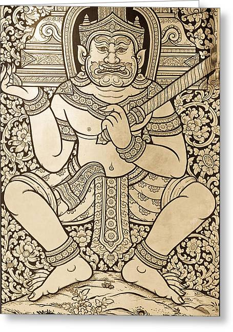 Lacquer Greeting Cards - Ancient Thai art Greeting Card by Alexey Stiop