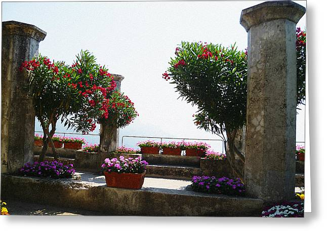Dry Brush Greeting Cards - Ancient Town Of Ravello Italy Greeting Card by Irina Sztukowski