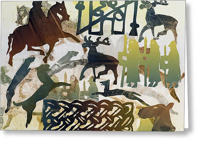Leaping Greeting Cards - Ancient Travellers, 1995 Monotype Greeting Card by Gloria Wallington