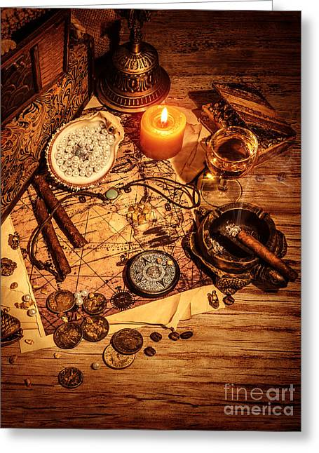 Ancient Jewelry Photographs Greeting Cards - Ancient treasures Greeting Card by Anna Omelchenko