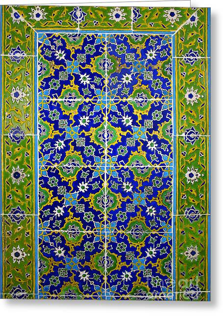 Wall Tiles Greeting Cards - Ancient turkish design hand painted tiles Greeting Card by Ralph A  Ledergerber-Photography