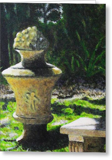 Garden Statuary Greeting Cards - Ancient Urn Greeting Card by John Lasco
