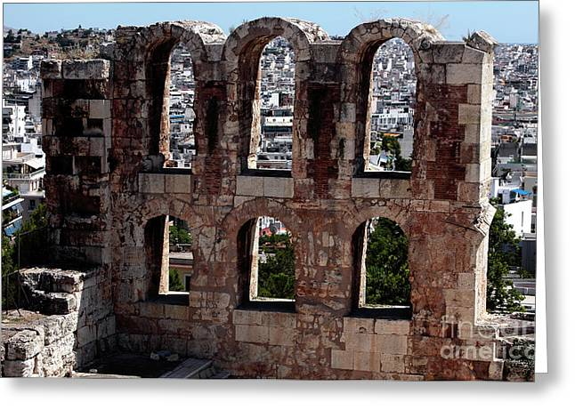 Ancient Greek Ruins Greeting Cards - Ancient View Greeting Card by John Rizzuto
