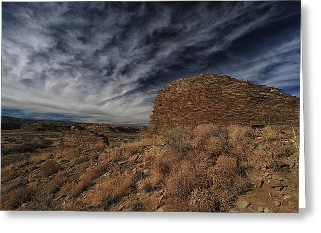 Chaco Canyon Greeting Cards - Ancient Wall Wispy Sky Greeting Card by Allen W Sanders