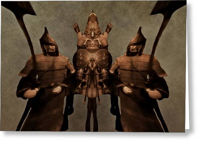Civilization Mixed Media Greeting Cards - Ancient Warriors Greeting Card by Dan Sproul