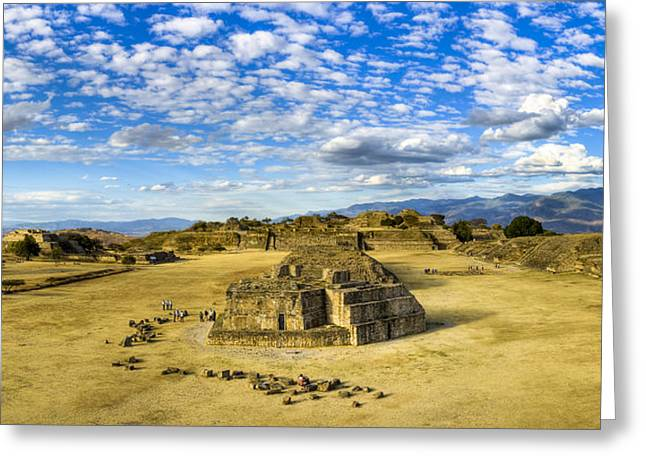 Ancient Ruins Greeting Cards - Ancient Zapotec Ruins Panorama - Monte Alban Greeting Card by Mark Tisdale