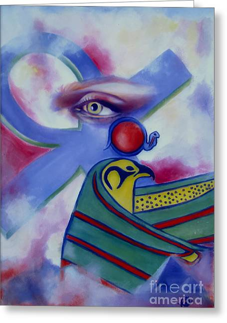 Recently Sold -  - Horus Greeting Cards - Ancients Calling Greeting Card by Rebecca Glaze
