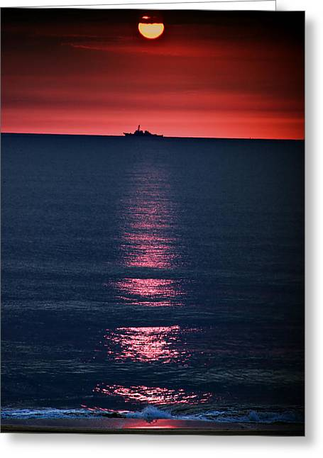 Virginia Beach Greeting Cards - And All the Ships at Sea Greeting Card by Tom Mc Nemar