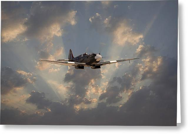 Spitfire Greeting Cards - And Comes Safe Home Greeting Card by Pat Speirs
