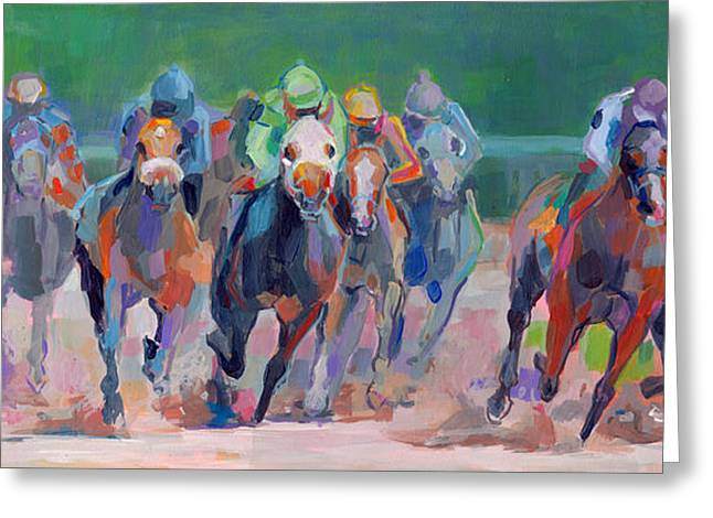 Jockeys Greeting Cards - And Down the Stretch They Com Greeting Card by Kimberly Santini