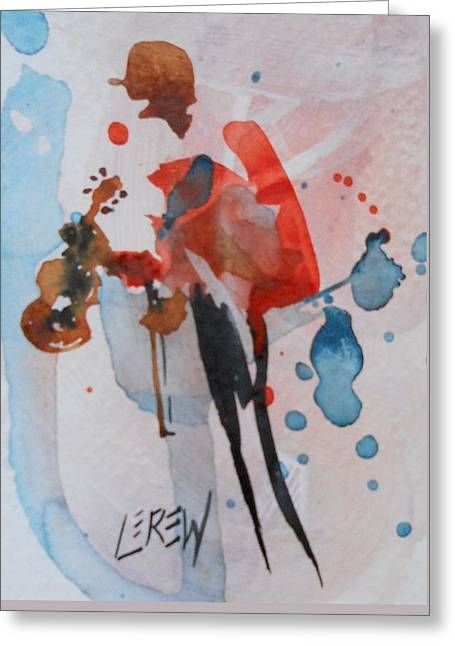 Violin Player Drawings Greeting Cards - And For My Next Number Greeting Card by Larry Lerew