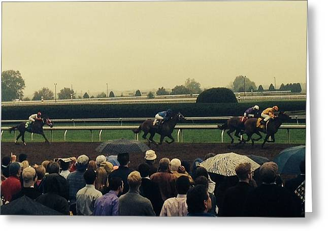 Keeneland Greeting Cards - And Here They Come Greeting Card by Edward Paul