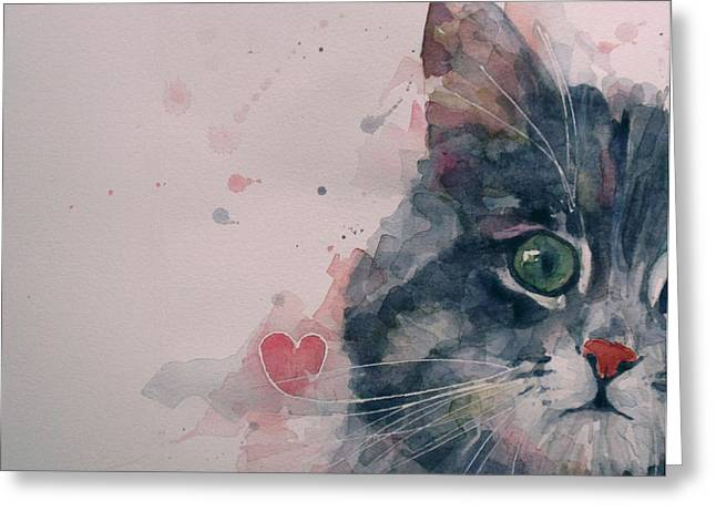 Cat Face Greeting Cards - And I Love Her Greeting Card by Paul Lovering