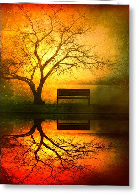 Yellow Trees Greeting Cards - And I Will Wait For You Until the Sun Goes Down Greeting Card by Tara Turner
