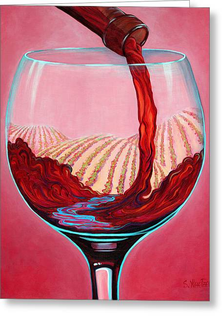Wine Pour Greeting Cards - ...and Let There Be Wine Greeting Card by Sandi Whetzel