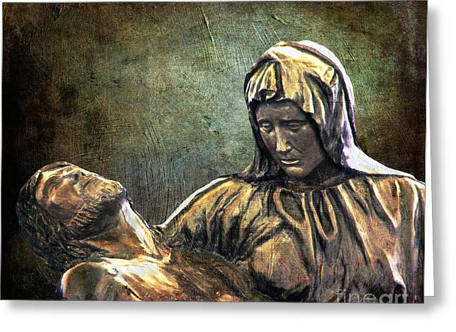 Catholic Art Greeting Cards - And Mary wept Greeting Card by Lianne Schneider
