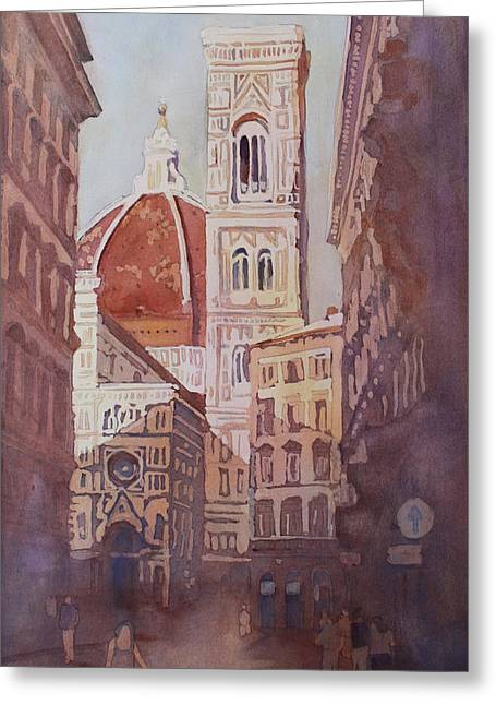 And Suddenly The Duomo Greeting Card by Jenny Armitage