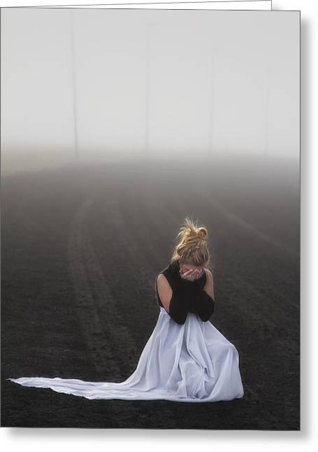 Sorrow Photographs Greeting Cards - And Tears Shall Drown The Wind Greeting Card by Evelina Kremsdorf