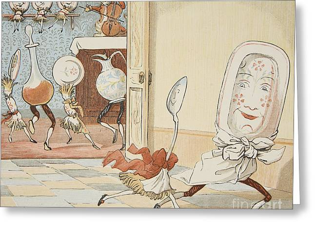 Anthropomorphic Greeting Cards - And the Dish Ran Away with the Spoon Greeting Card by Randolph Caldecott