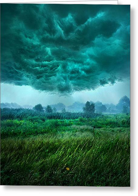 Storm Light Greeting Cards - And Then I Ran Greeting Card by Phil Koch
