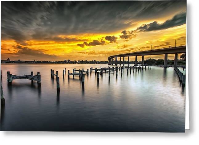 Annapolis Maryland Greeting Cards - And The Water Caught Fire Greeting Card by Edward Kreis