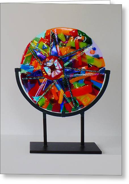 Recently Sold -  - Star Glass Art Greeting Cards - And the Wheel Goes Round and Round Greeting Card by Mark Lubich