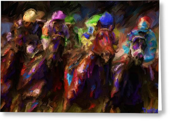 Belmont Stakes Greeting Cards - And Theyre Off Greeting Card by Preston Sandlin