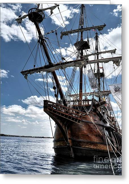 Wooden Ship Greeting Cards - Andalucia Bow Greeting Card by Chris Fleming