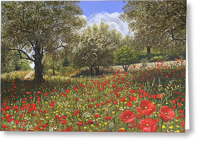 Mediterranean Landscape Greeting Cards - Andalucian Poppies Greeting Card by Richard Harpum
