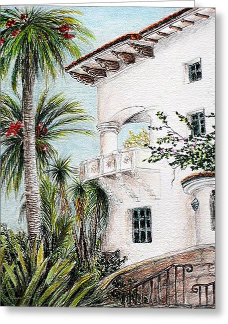 City Hall Drawings Greeting Cards - Andalusian fortress- Santa Barbara Courthouse balcony Greeting Card by Danuta Bennett