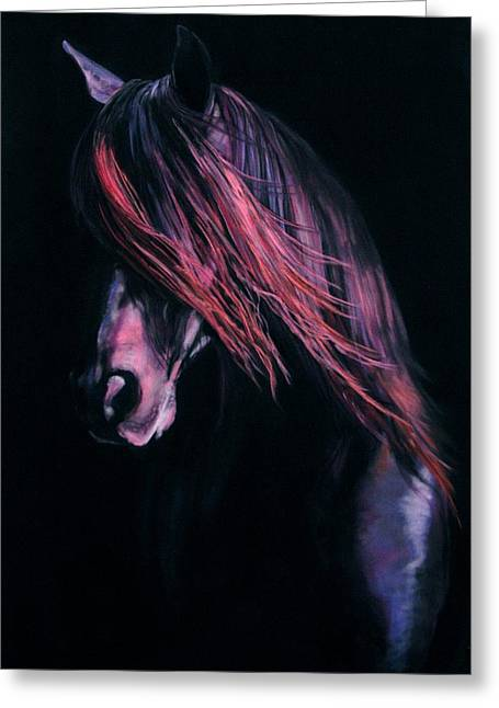Wild Horse Pastels Greeting Cards - Andalusian Free Greeting Card by Jan Fontecchio