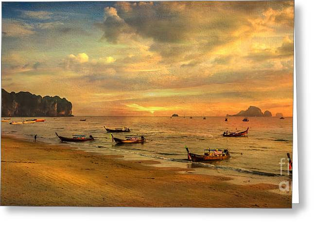 Fishing Boats Greeting Cards - Andaman Sunset Greeting Card by Adrian Evans