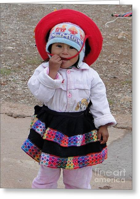Embroidered Dress Greeting Cards - Andean Chiquita Greeting Card by Barbie Corbett-Newmin