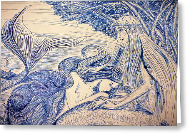 Princes Greeting Cards - Andersens Little Mermaid - The Sorrow Greeting Card by Ruslana Lev