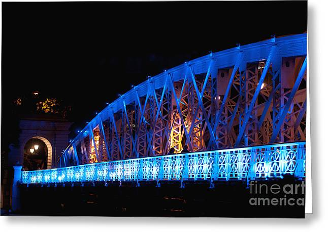 Night Scenes Greeting Cards - Anderson Bridge Greeting Card by Ivy Ho