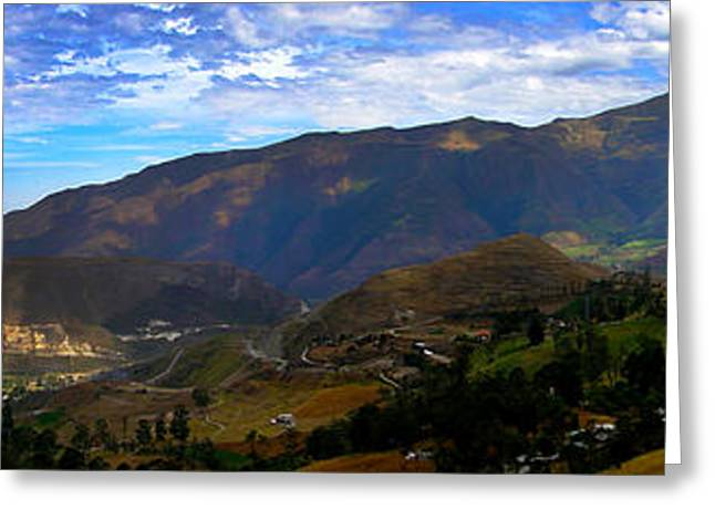 Farmers Field Greeting Cards - Andes Mountains Panorama Greeting Card by Al Bourassa