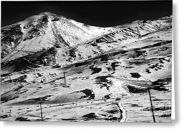 Skiing Art Posters Greeting Cards - Andes Ski Slope Greeting Card by John Rizzuto